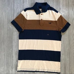 Hollister men polo tee shirt striped short sleeve